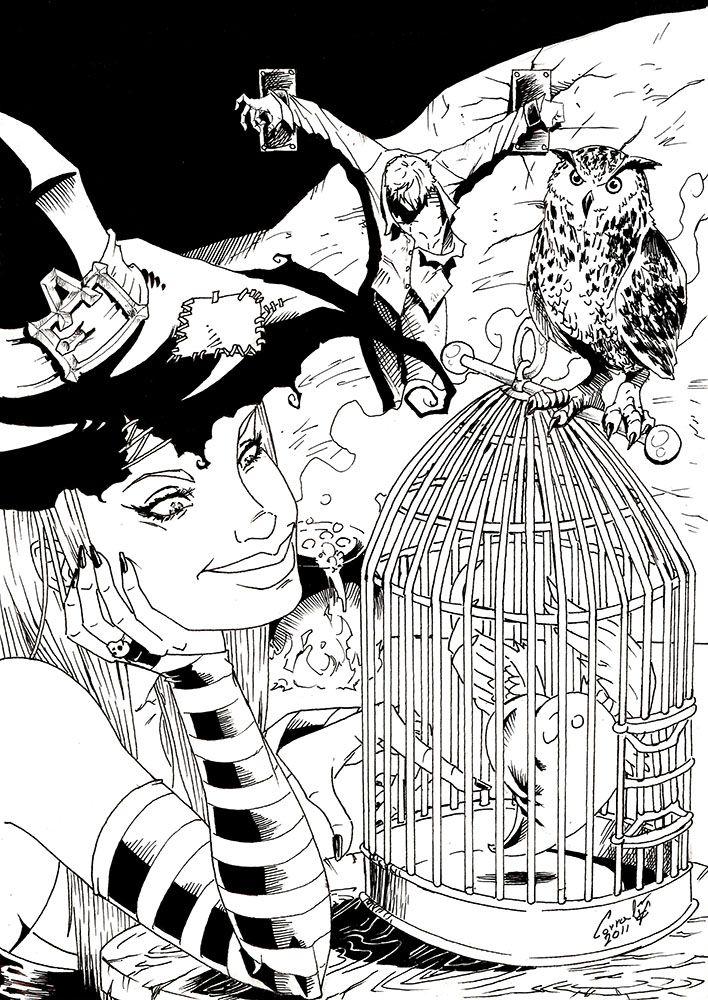 Bruja con un corazón en una jaula