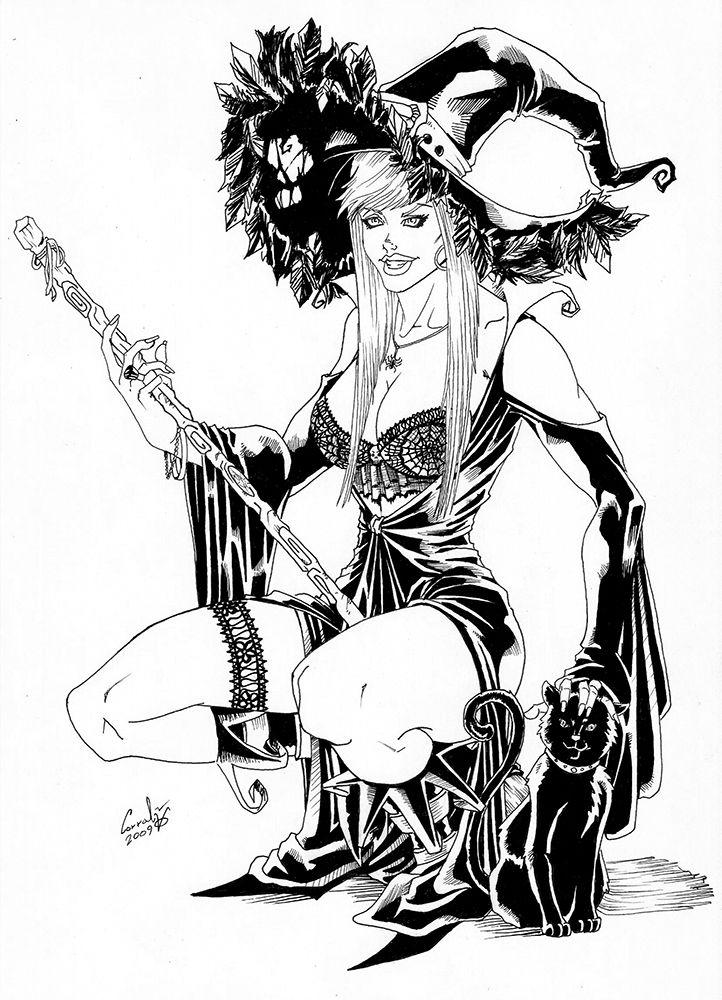 Mujer vestida de bruja