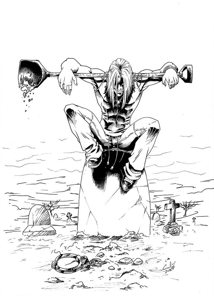 Hombre con una pala sentado en una lápida