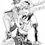 Mujer con espada grande