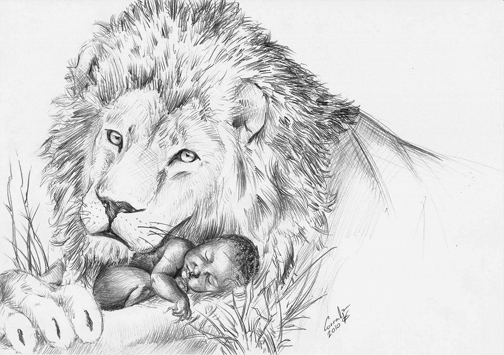 León con un bebé