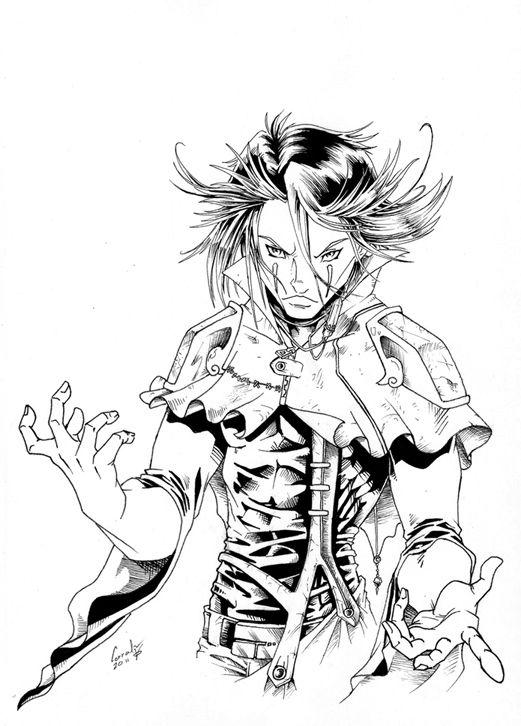 Personaje de Nómadas en blanco y negro